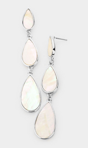 Mother of Pearl Accented Triple Teardrop Link Earrings