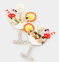 Load image into Gallery viewer, Flamingo Cocktail Earrings