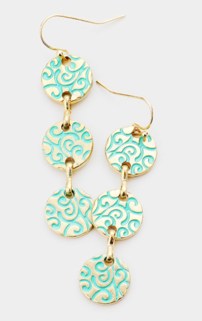 Enamel Swirl Link Earrings