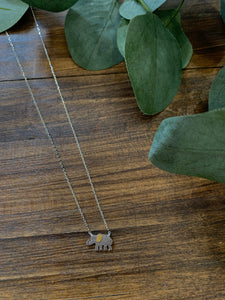 Gold Ear Elephant Dainty Necklace