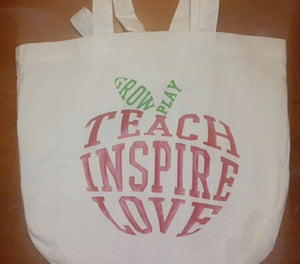 Apple Shaped Teach Inspire Love Grow Play Tote