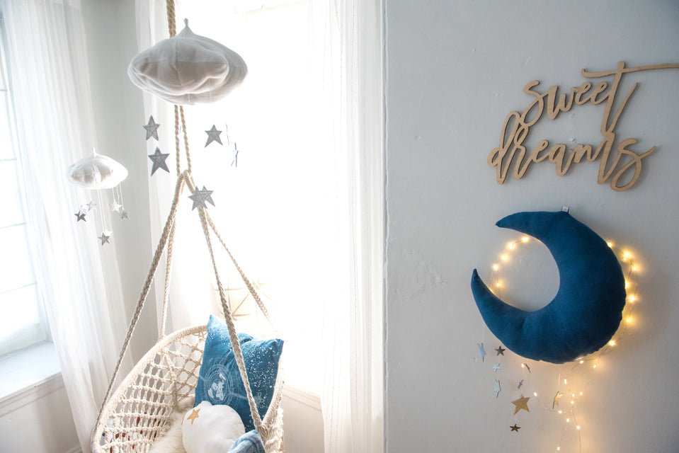 white and silver metallic star cloud baby mobile and natural indigo blue and metallic silver stars and moon mobile for baby