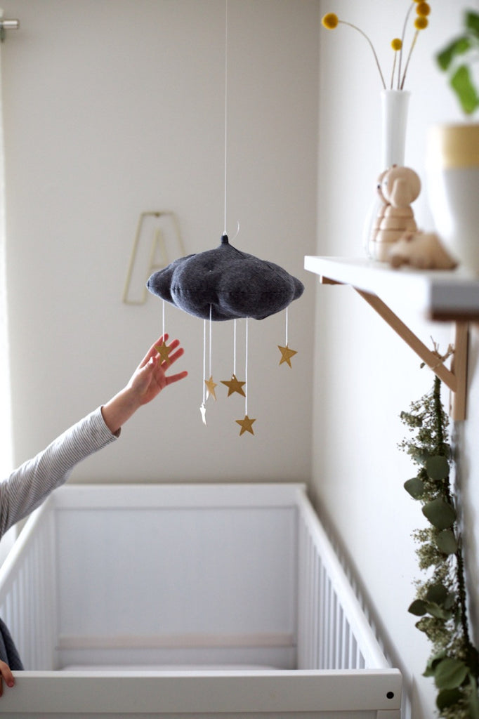 Charcoal and Gold Cloud Mobile by Baby Jives Co