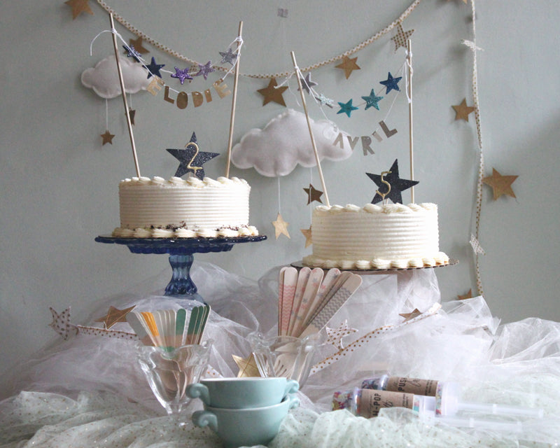Star Bright Birthday - clouds, garland and metallic names by Baby Jives Co, star cake toppers by Mosey Handmade