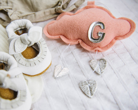 Luxe Mini Personalized Heart Cloud - Choose Initial, Cloud and Heart Color