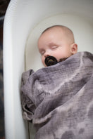 Organic Cotton Swaddle - Geode Charcoal Naturally Dyed - Baby Jives Co
