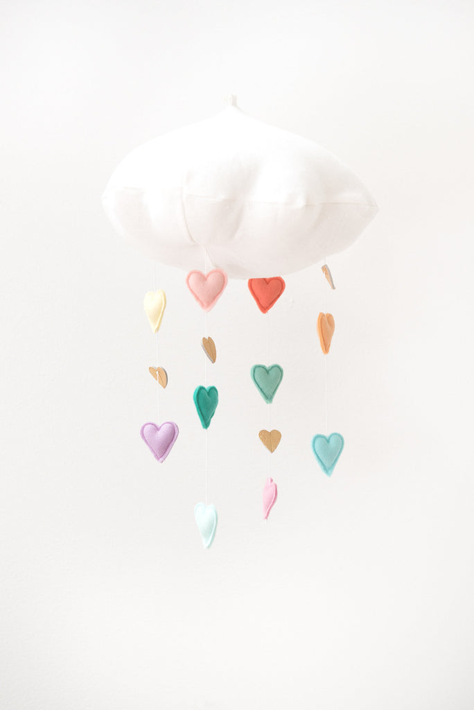 Luxe Cascading Pastel Rainbow Heart Cloud Mobile - Baby Jives Co