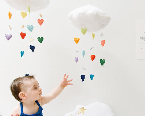 Luxe Cascading Bright Rainbow Heart Cloud Mobile