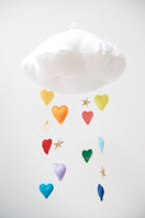 Luxe Bright Rainbow Heart Cloud Mobile - Baby Jives Co
