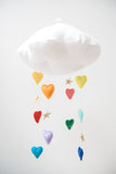 Luxe Cascading Bright Rainbow Heart Cloud Mobile - Baby Jives Co