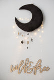 Luxe Cascading Moon Mobile in Logwood Black + Gold - Baby Jives Co