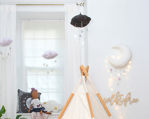 Luxe Cascading Moon Mobile in White + Lavender