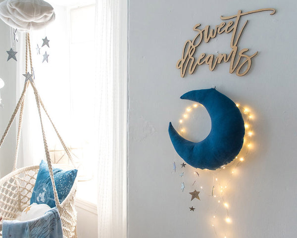 Luxe Cascading Moon Mobile in Indigo + Silver - Baby Jives Co