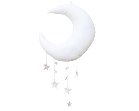 Luxe Cascading Moon Mobile in White + Lavender - Baby Jives Co
