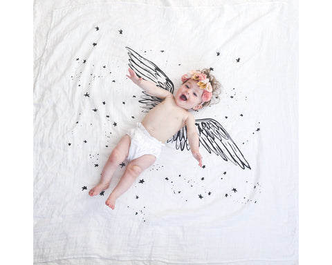 Organic Cotton Swaddle Blanket - Angel Wings - Baby Jives Co