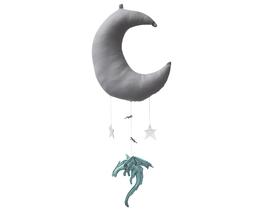 Aqua Dragon Moon Mobile - Baby Jives Co