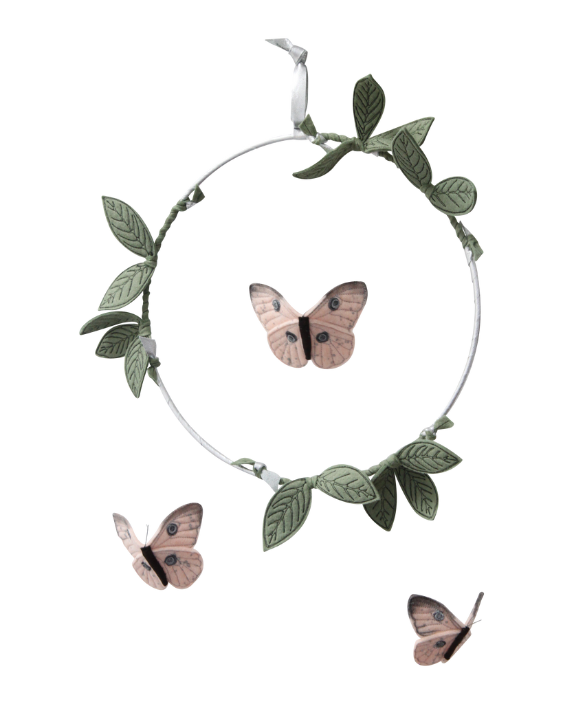Butterfly Mobile - Blush, Green + Silver - Baby Jives Co