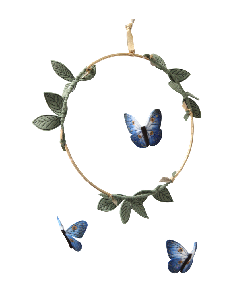 Butterfly Mobile - Indigo, Green + Gold - Baby Jives Co
