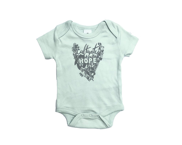 Cultivate Hope Organic Baby Bodysuit in Sage - Baby Jives Co