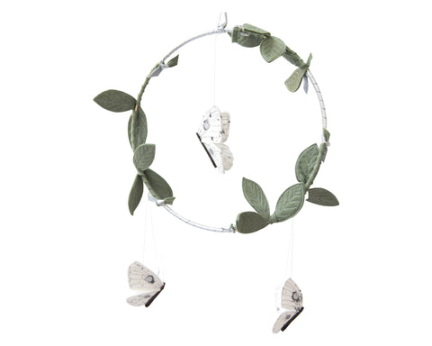 Luna Moth Luxe Mobile in Silver, White and Green - Baby Jives Co