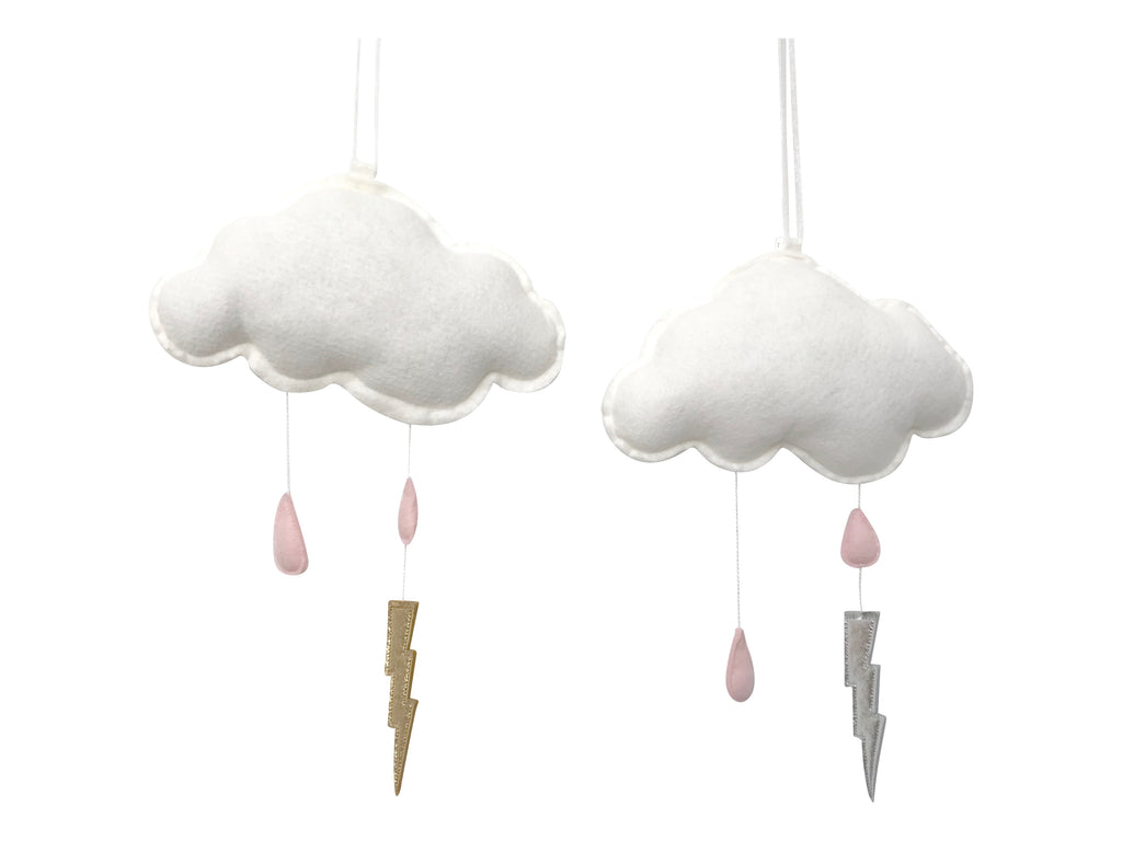 Pink Storm Cloud Wall Hung Mobile - Baby Jives Co