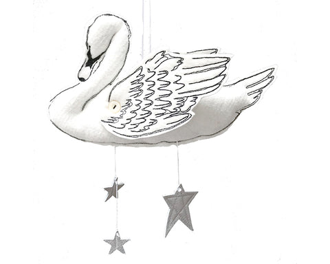 Swan Mobile in White and Luxe Metallic Leather - Baby Jives Co