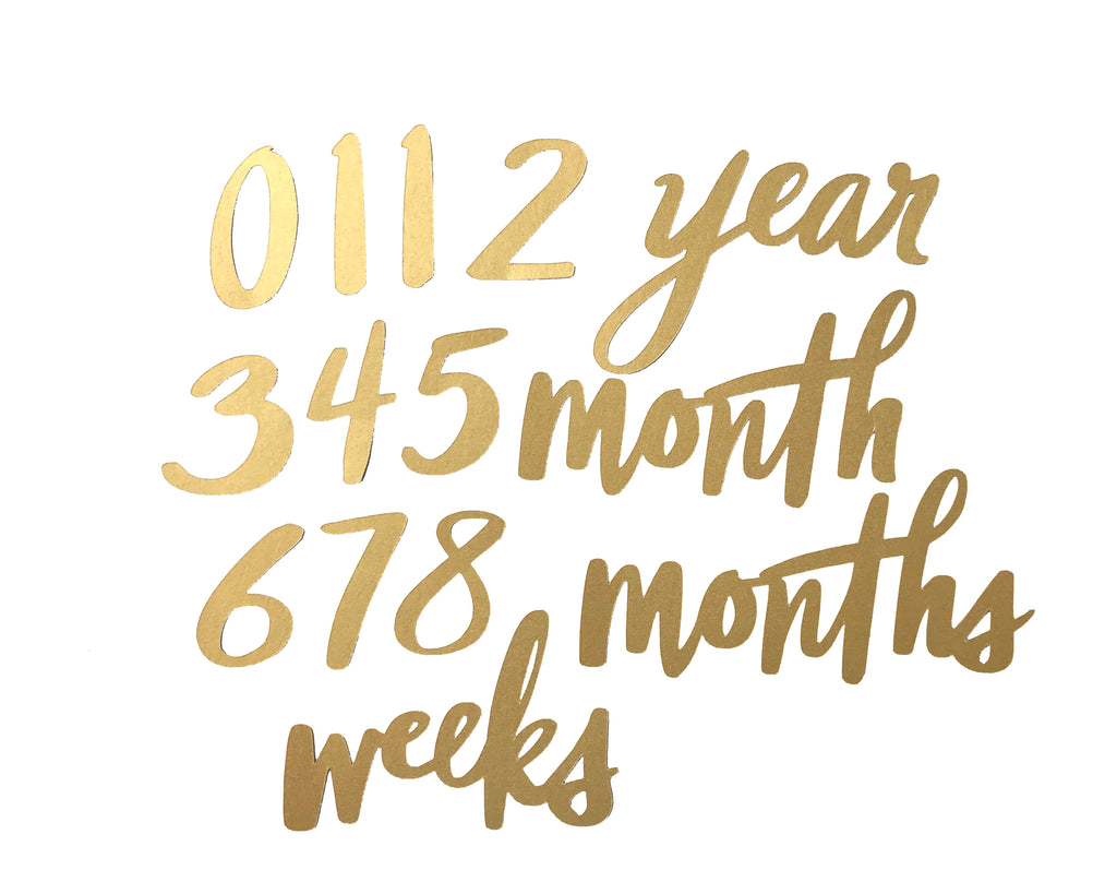 Studio Sale - Milestone Numbers Set - Yellow Gold Cardstock - Baby Jives Co