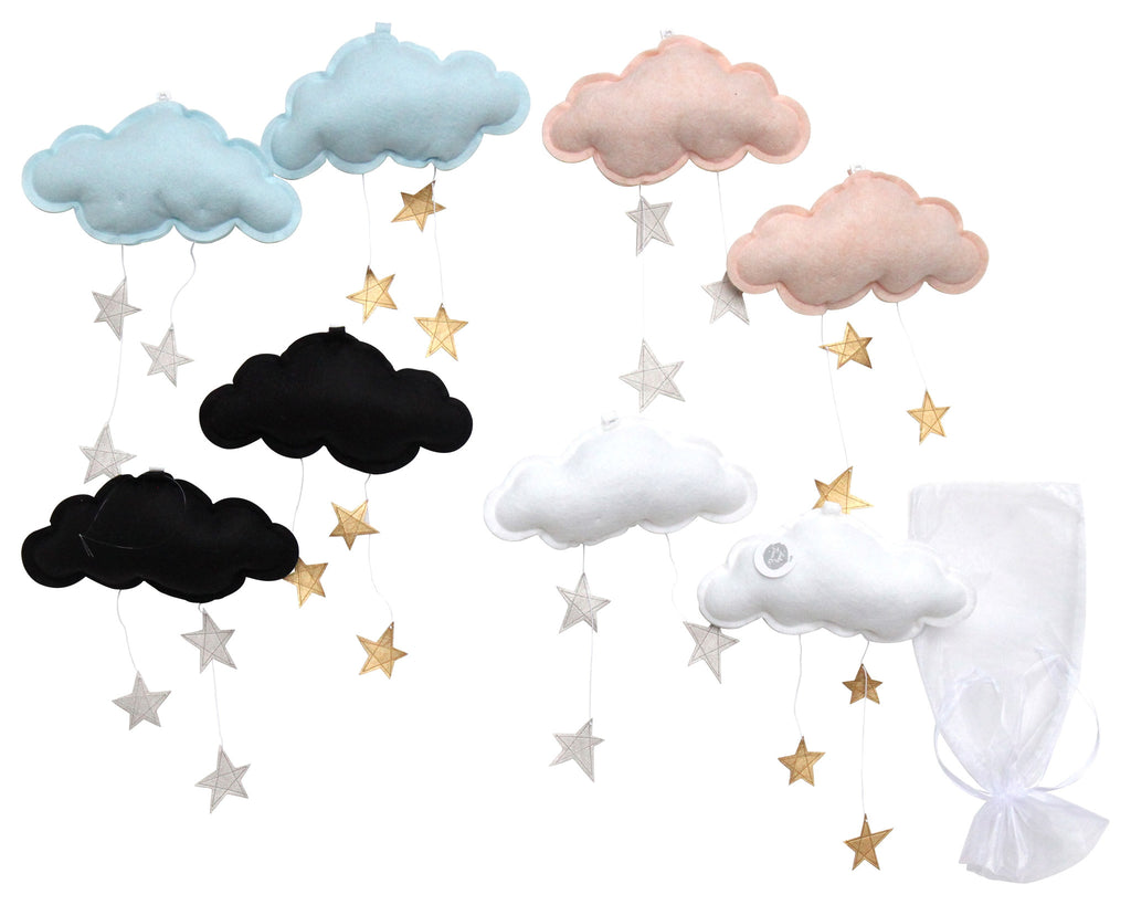 Wall Hung Star Cloud Mobile: Choose Your Own Colors - Baby Jives Co