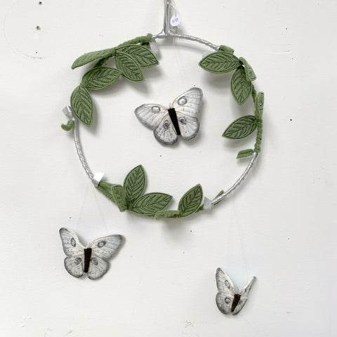 Studio Sale - Butterfly Mobile in Silver and Green - Baby Jives Co