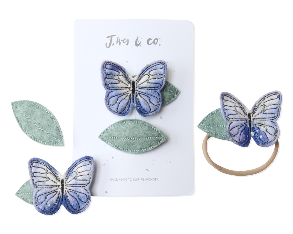 Lilac Butterfly + Leaf Clips - Baby Jives Co