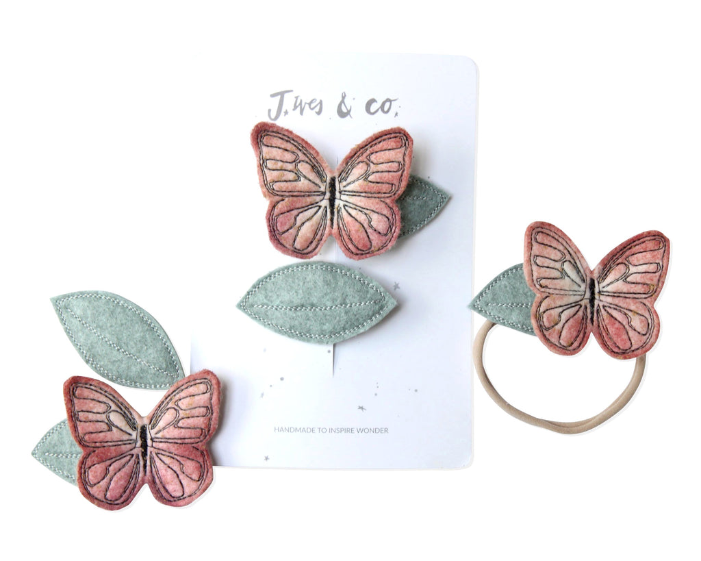 Peach Butterfly + Leaf Clips - Baby Jives Co