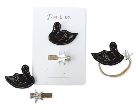 Black Swan + Star Clips - Baby Jives Co