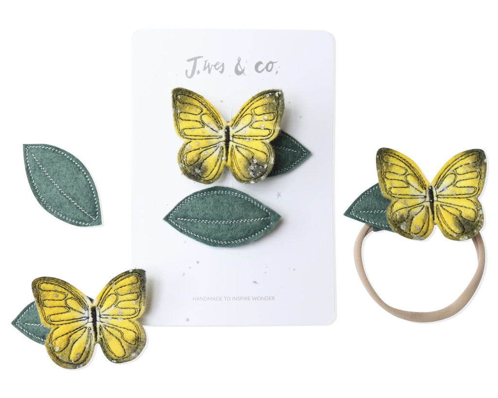 Clouded Yellow Butterfly + Leaf Clips - Baby Jives Co
