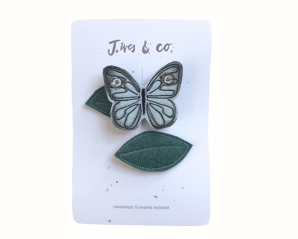 Ice Blue Butterfly + Leaf Clips - Baby Jives Co
