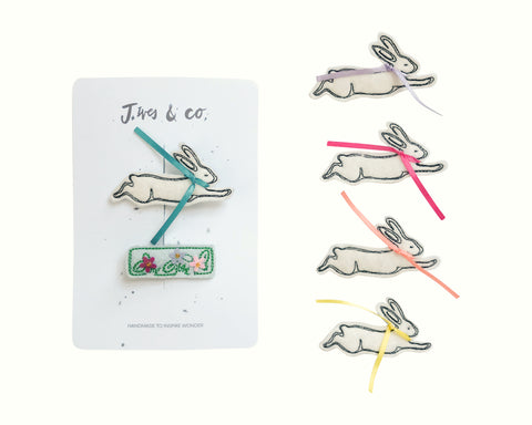 Rabbit + Flower Bed Clips - Baby Jives Co