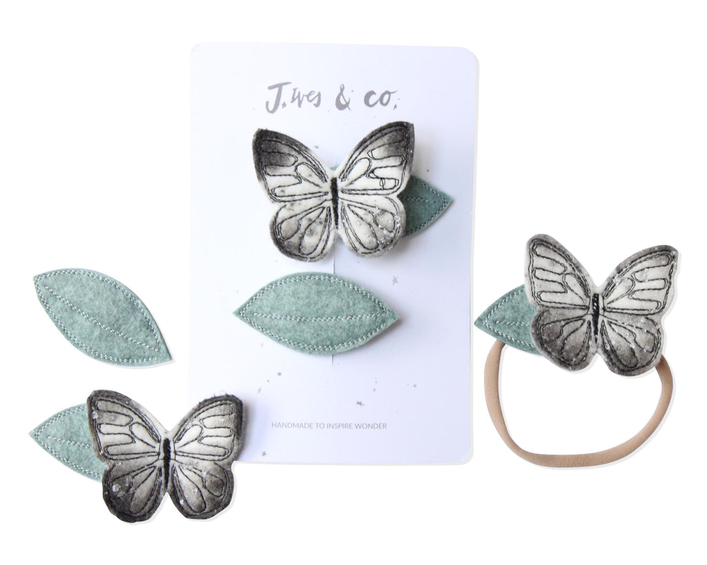 Silver Luna Moth + Leaf Clips - Baby Jives Co