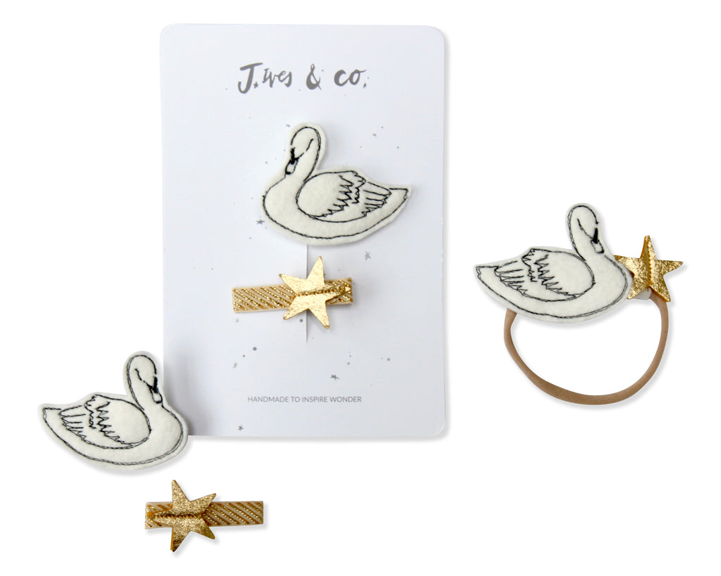 White Swan + Star Clips - Baby Jives Co