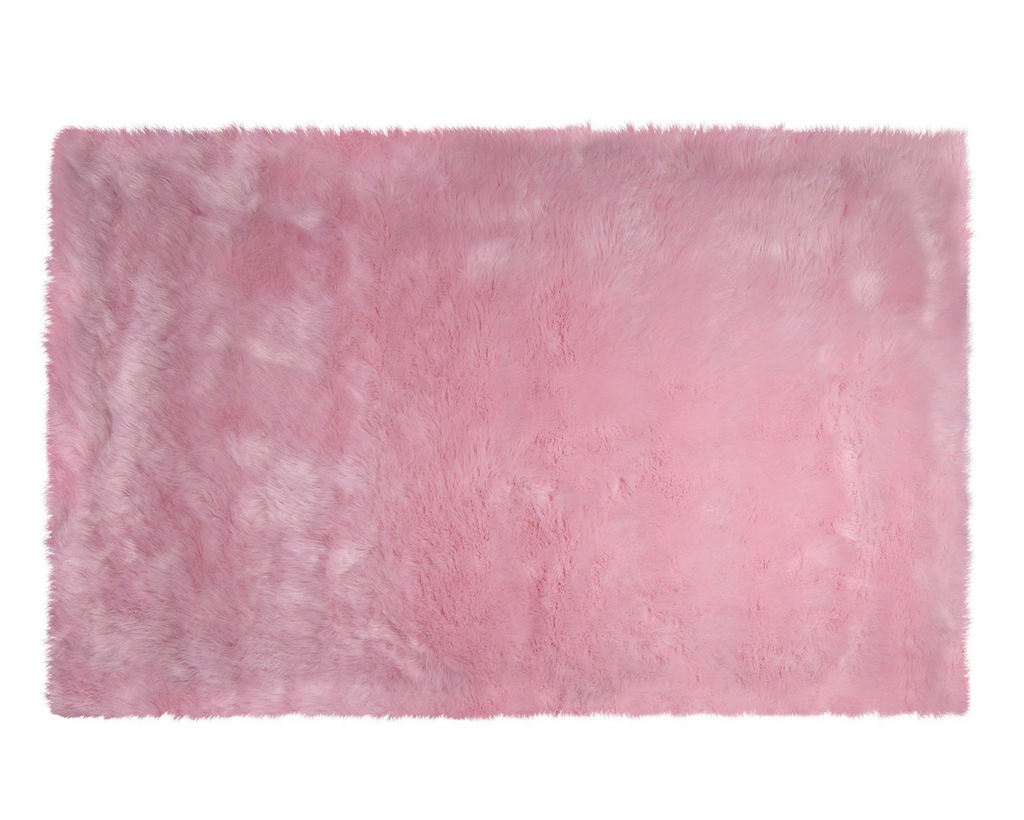 Kroma Carpets - Machine Washable Faux Sheepskin Area Rug 4' x 6' - Cotton Candy Pink