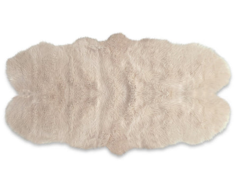 Kroma Carpets - Machine Washable Faux Sheepskin Double Area Rug - Champagne