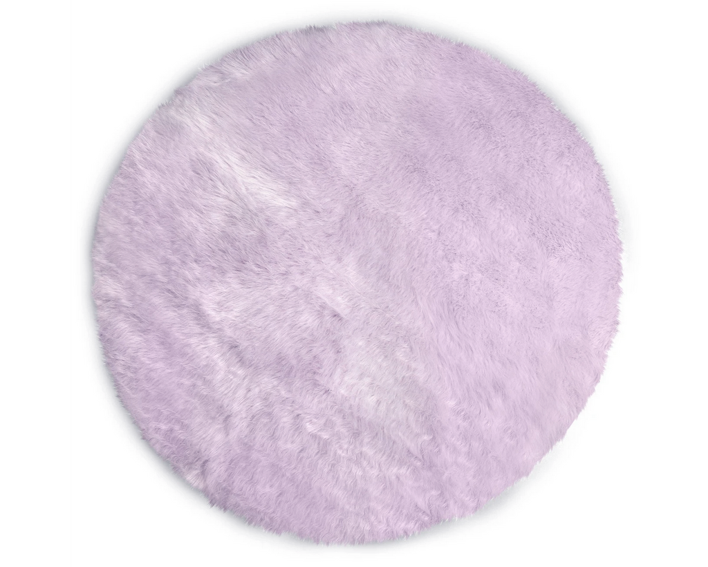 Kroma Carpets - Machine Washable Faux Sheepskin Round Area Rug -  Lavender