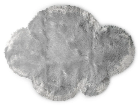 Kroma Carpets - Machine Washable Faux Sheepskin Cloud Area Rug - Light Grey