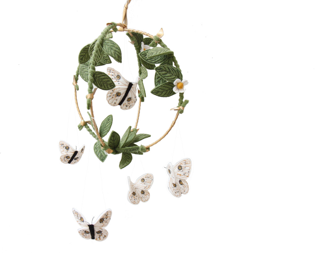 Butterfly Garden Mobile - Gold + White