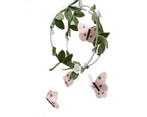 Butterfly Garden Mobile - Silver + Blush Pink