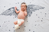 Organic Cotton Luxe Swaddle Blanket Tapestry - Angel Wings - Baby Jives Co