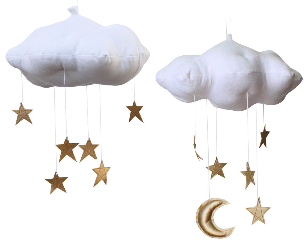 Star Cloud Mobile in White and Gold