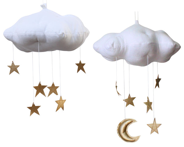 Star Cloud Mobile in White and Gold - Baby Jives Co