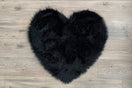 Kroma Carpets - Machine Washable Faux Sheepskin Heart Area Rug - Black