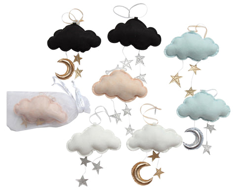 Luxe Wall Hung Star Cloud Mobile: Choose Your Own Colors - Baby Jives Co