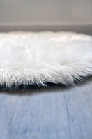 Kroma Carpets - Machine Washable Faux Sheepskin Cloud Area Rug - White