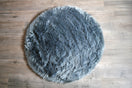 Kroma Carpets - Machine Washable Faux Sheepskin Round Area Rug - Grey